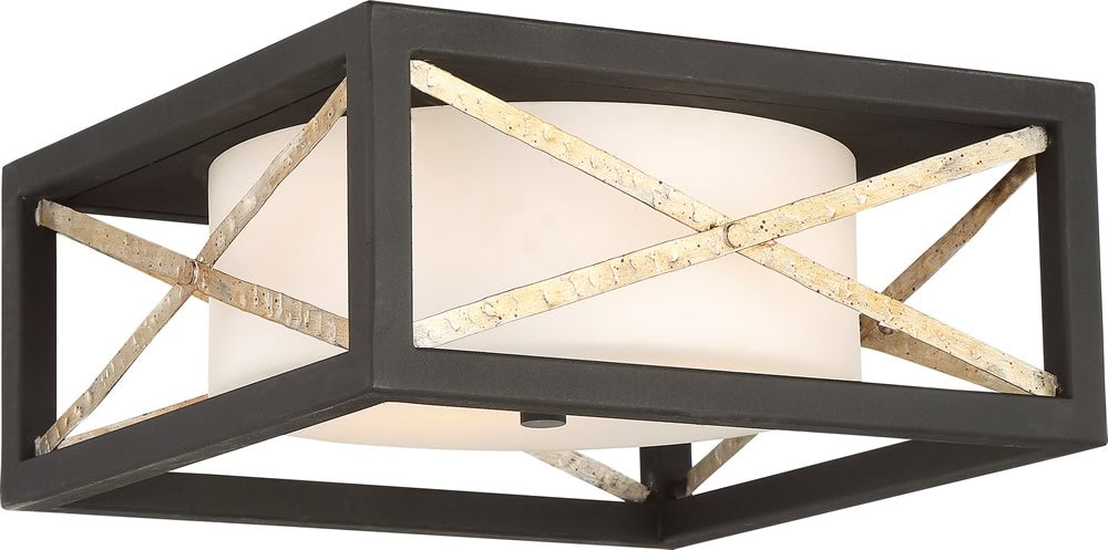 "14""W Boxer 2-Light Close-to-Ceiling Matte Black / Antique Silver Accents"