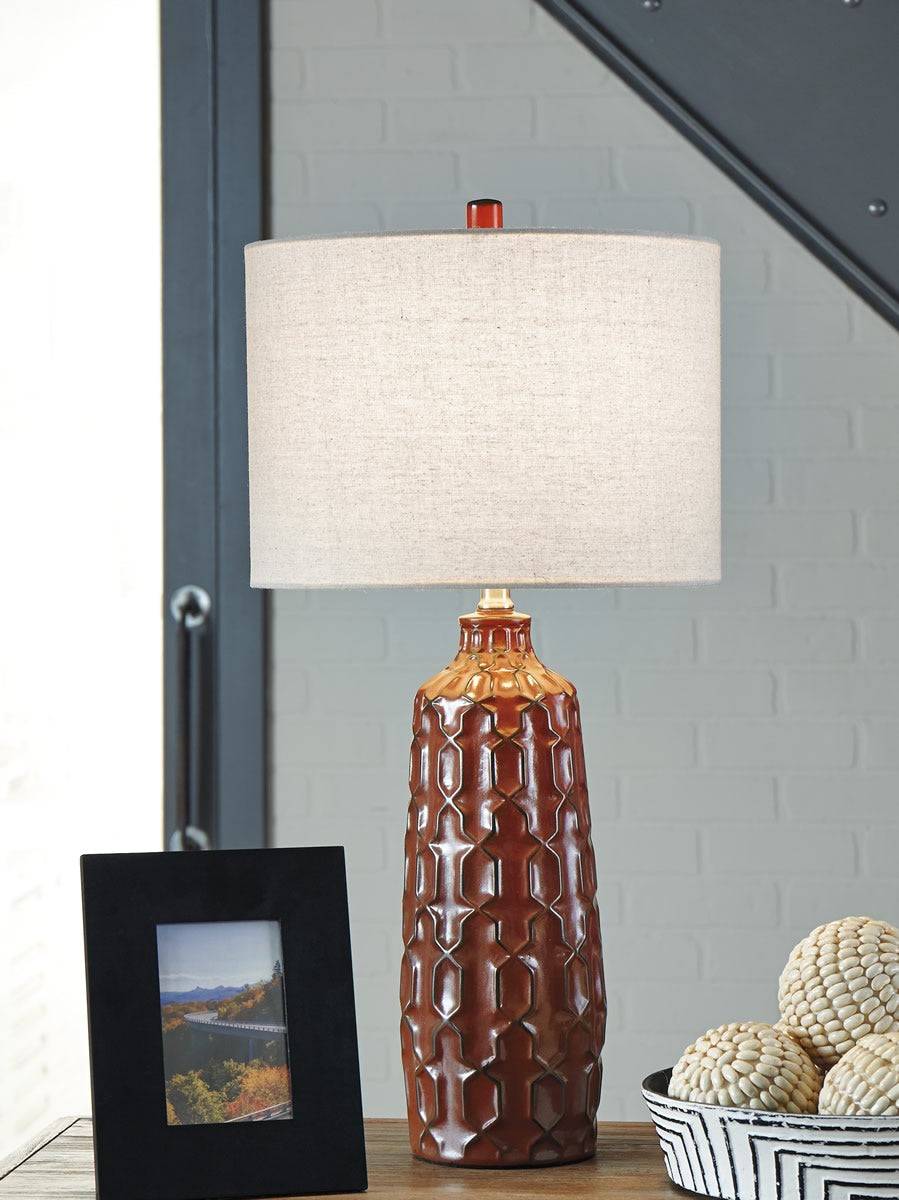 Mab Ceramic Table Lamp (2/CN) Orange
