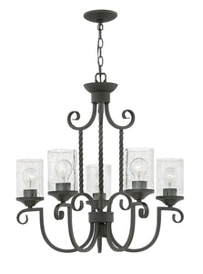 Casa 5-Light Single Tier Foyer in Olde Black with Clear Seedy