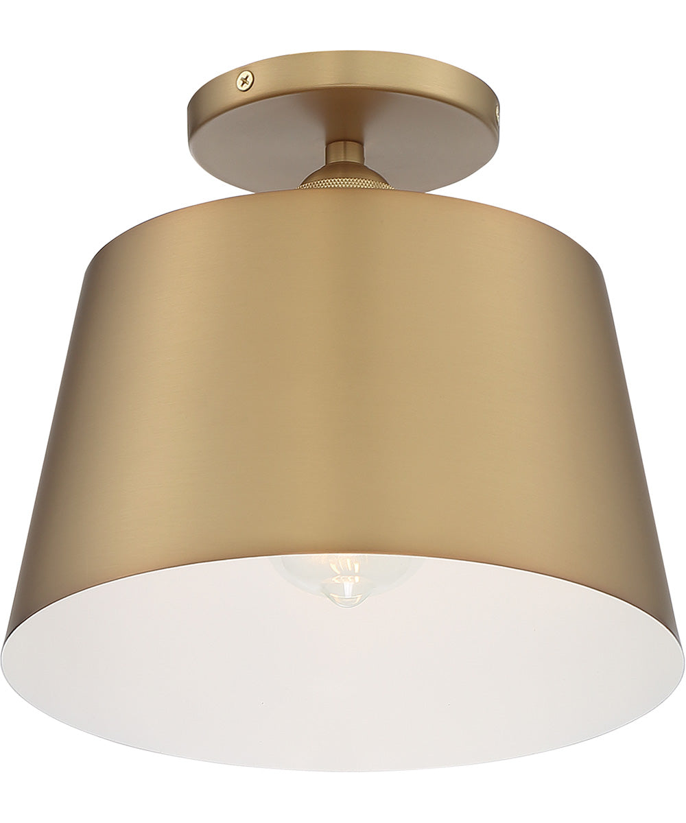 "10""W Motif 1-Light Close-to-Ceiling Brushed Brass / White Accents"