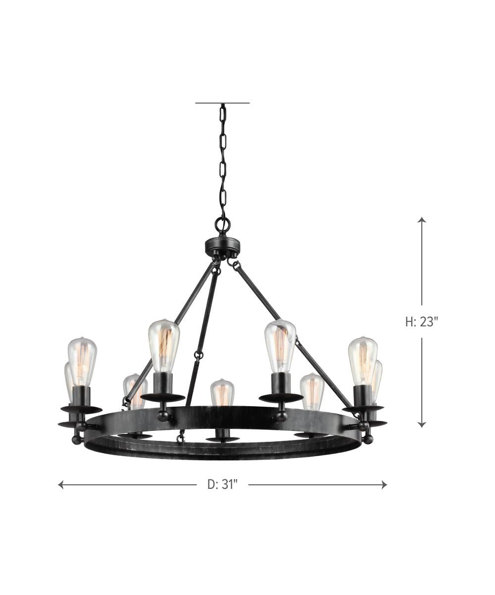 "31""W Ravenwood Manor 9-Light Single-Tier Chandelier Stardust"