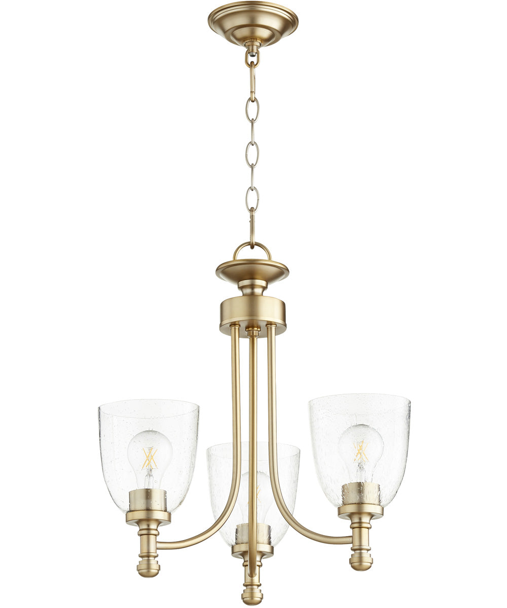 "18""W Rossington 3-light Chandelier Aged Brass w/ Clear/Seeded"