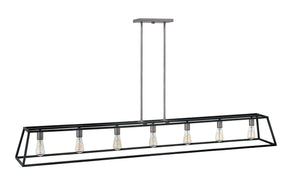"65""W Fulton 7-Light Stem Hung Linear in Aged Zinc"