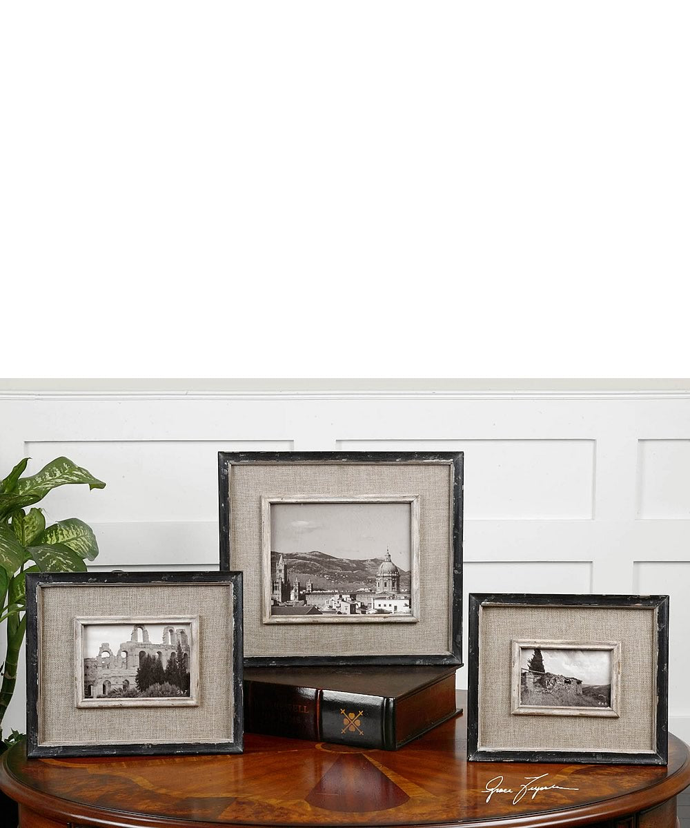 "14""H Kalidas Cloth Lined Photo Frames Set of 3"