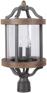 Ashwood 2-Light Outdoor Post Light Textured Black/Whiskey Barrel