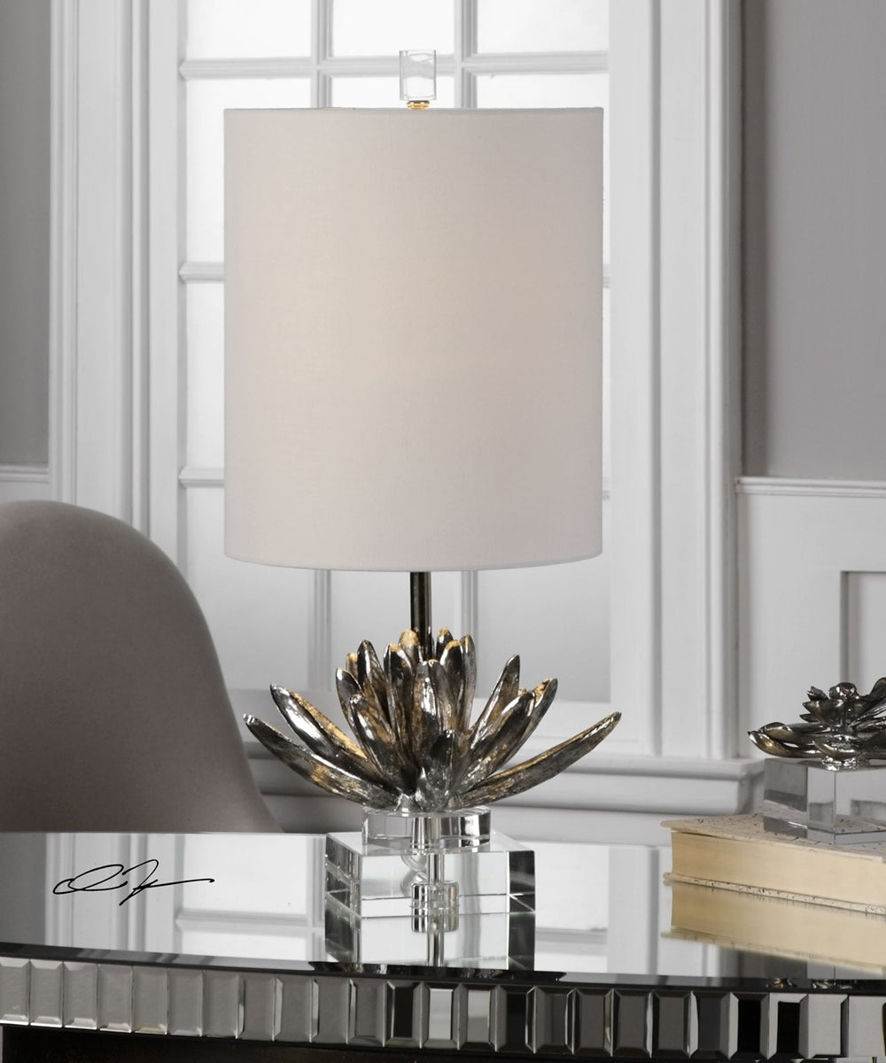 "25""H Silver Lotus Accent Lamp"