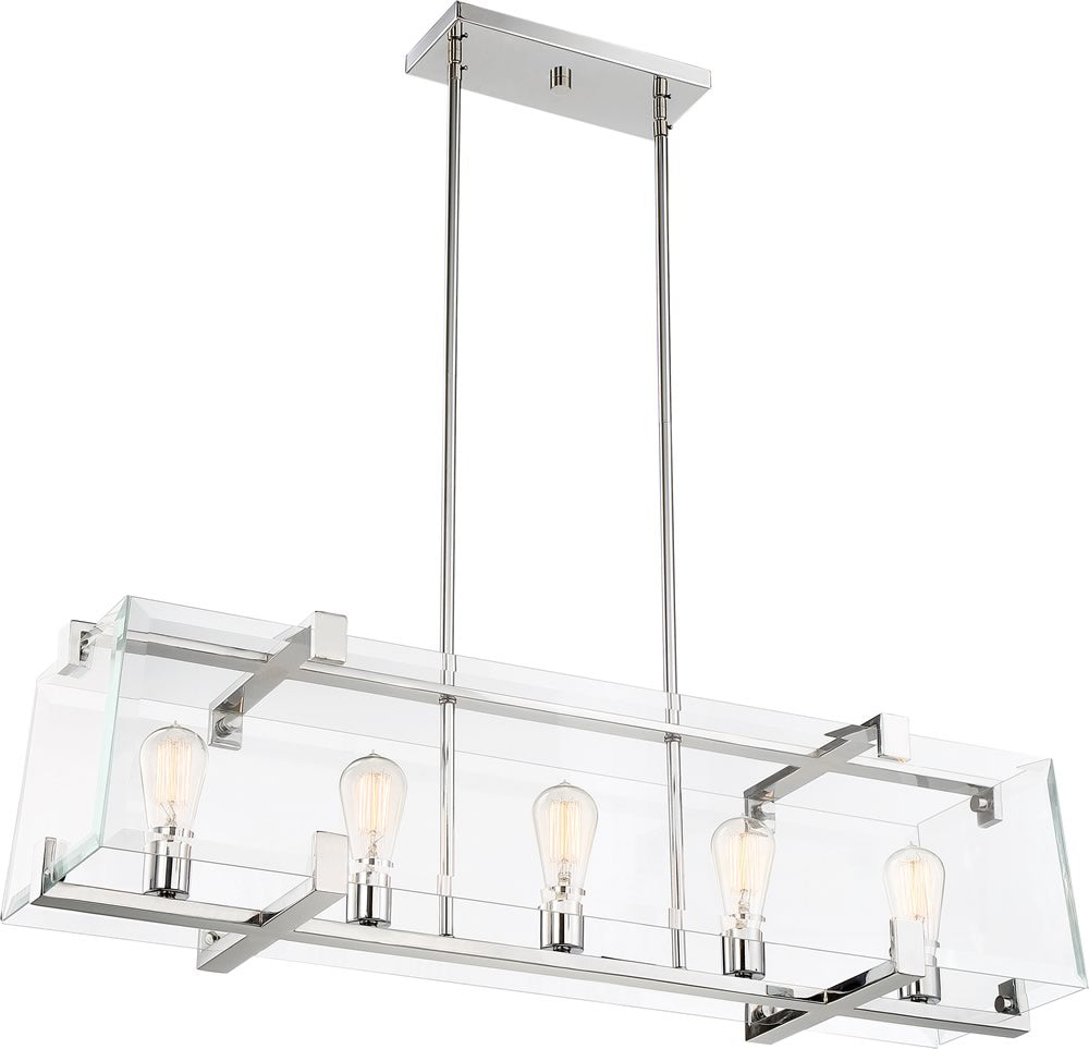 "10""W Shelby 5-Light Pendant Polished Nickel"