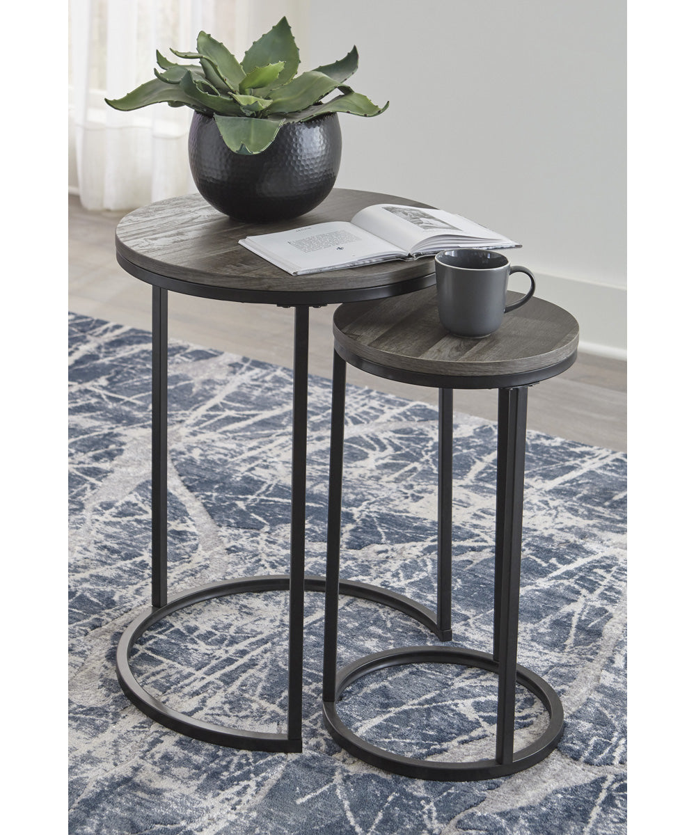 "23""H Briarsboro Accent Table Set of 2 Black/Gray"