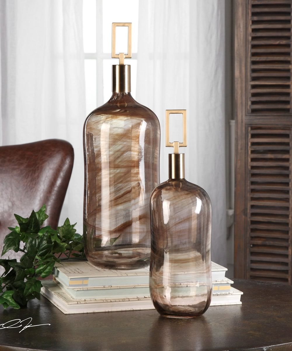 "19""H Ginevra Glass Bottles Set of 2"