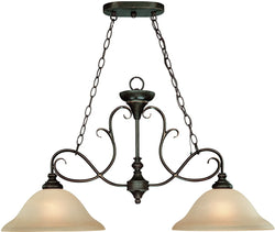 0-009444>Barrett Place 2-Light Island Pendant Light Mocha Bronze