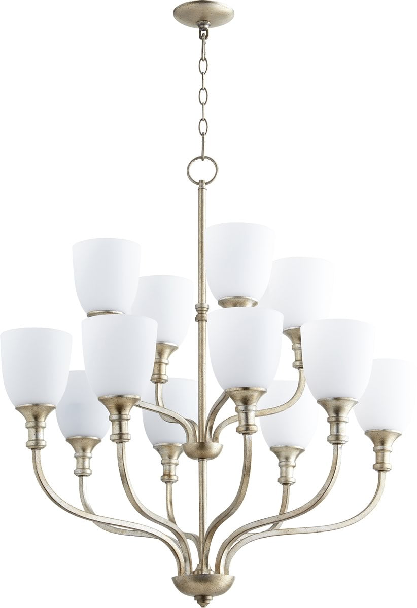 "34""W Richmond 12-light Chandelier Aged Silver Leaf"