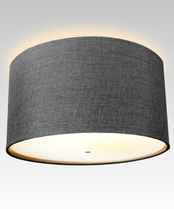 "16""W Moderne Flush Mount Conversion Kit  Granite Gray Burlap Hardback Drum Lampshade"