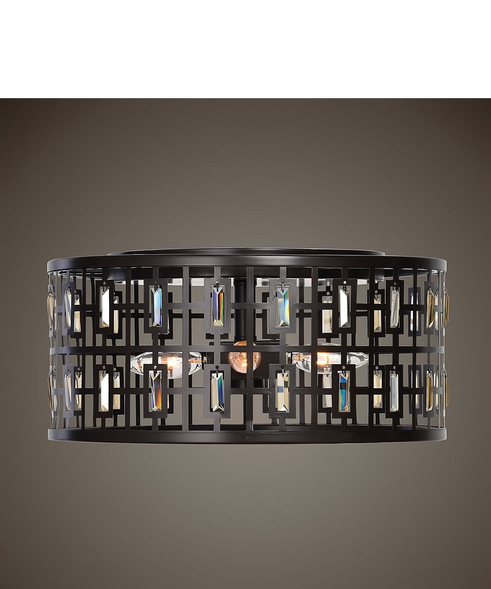 Rhombus 4 Light Bronze Flush Mount