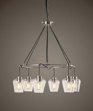 "32""W Akron Nickel 6 Light Pendant"