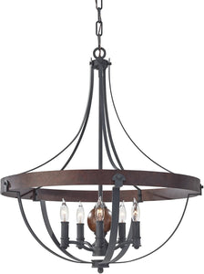 "24""w Alston 5-Light Single Tier Chandelier Charcoal Brick"