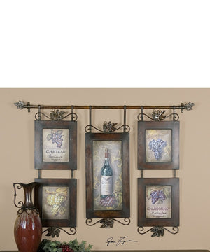 "39""H x 53""W Hanging Wine Framed Art"