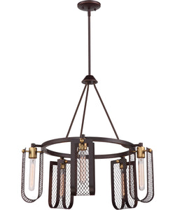"27""W Bandit 5-Light Chandelier Russet Bronze / Vintage Brass Accents"
