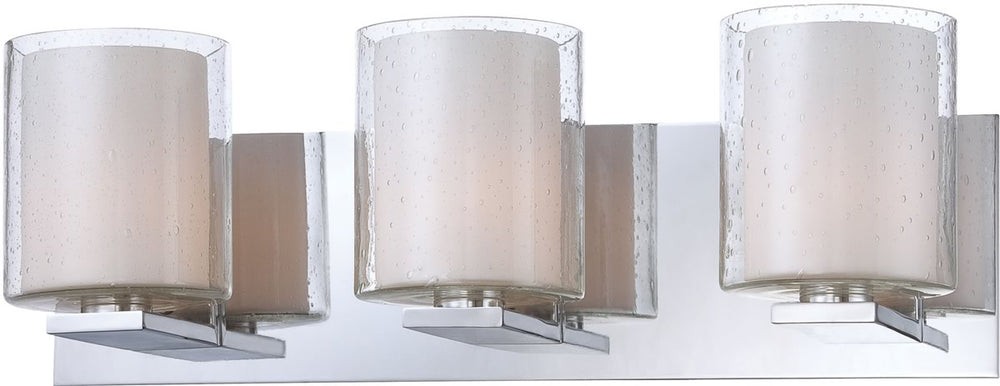 "19""W Combo 3-Light Vanity Chrome/Clear Stromboli Outer Glass/White Opal Inner Glass"