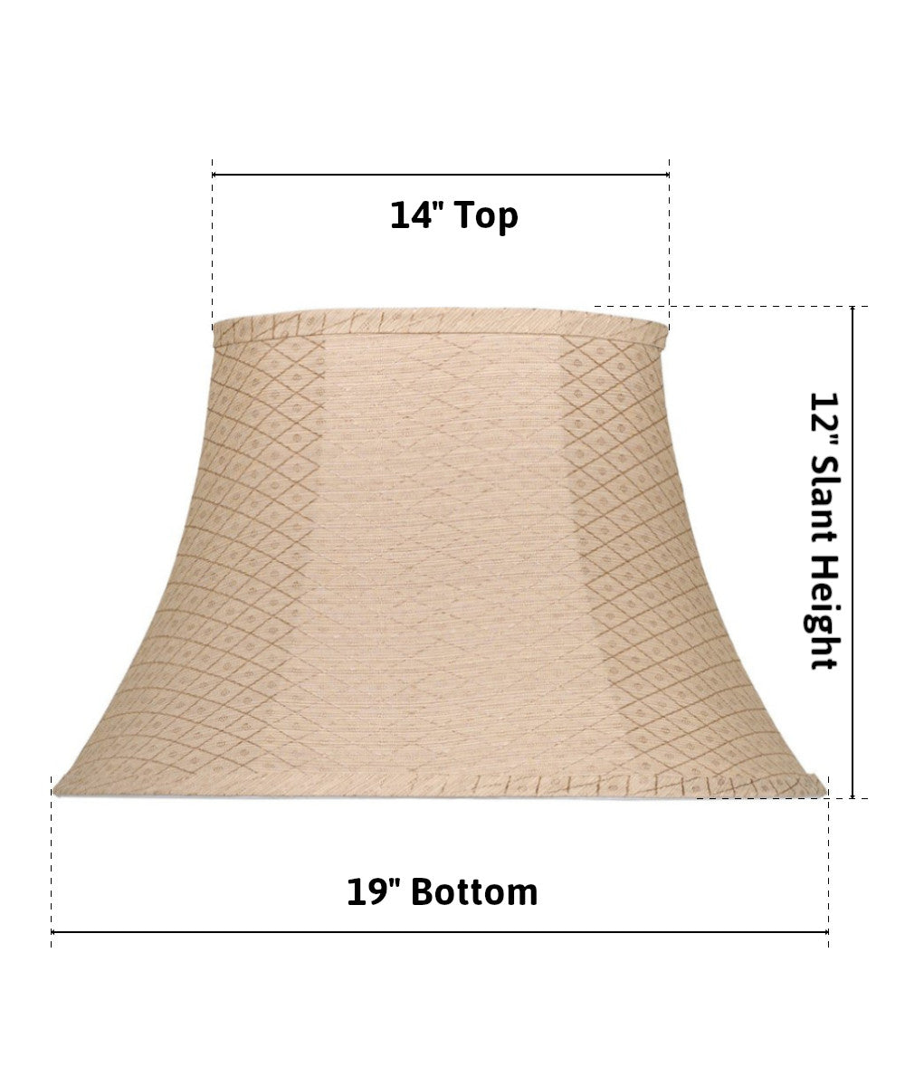 "19""W  x 12""H Patterned Softback Cream Oval Bell Lamp Shade"