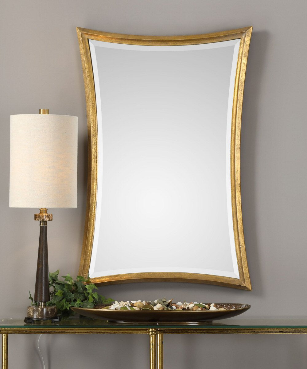 "42""H x 28""W Vermejo Scalloped Gold Mirror"