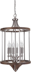 Tahoe 6-Light Foyer Light Brushed Nickel/Whiskey Barrel