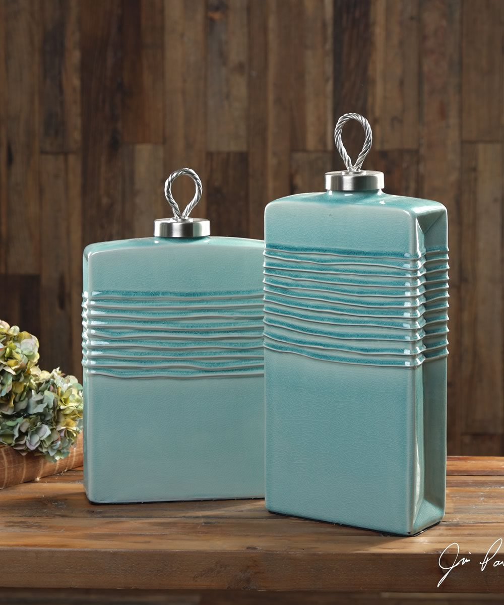 "18""H Rewa Green Ceramic Containers Set of 2"