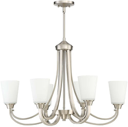 0-009350>Grace 6-Light Linear Chandelier Brushed Polished Nickel