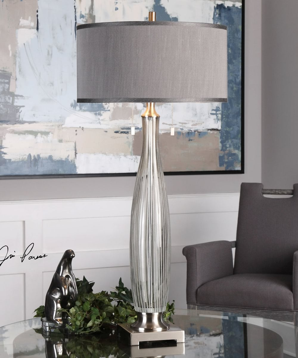 "39""H Coloma Gray Glass Table Lamp"