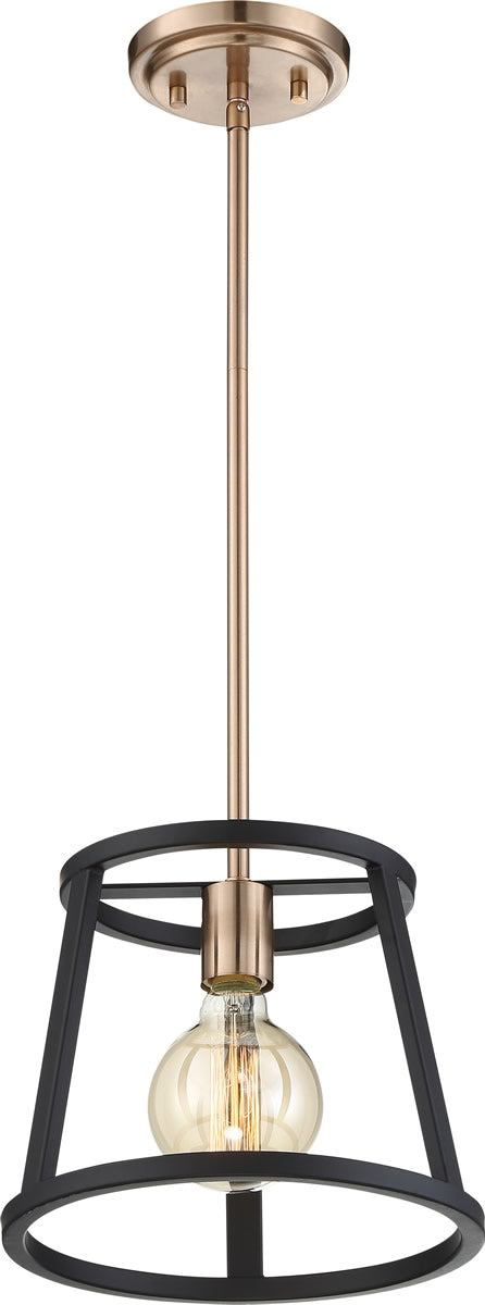 "10""W Chassis 1-Light Pendant Copper Brushed Brass / Matte Black"