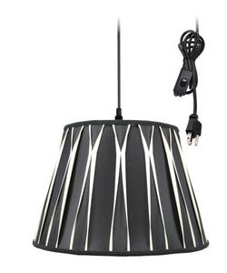 0-011673>1-Light Plug In Swag Pendant Lamp Black/Beige Shade