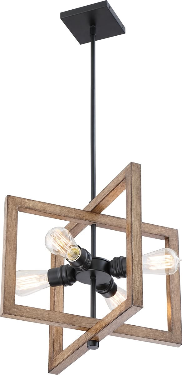 "16""W Beacon 4-Light Pendant Black / Honey Wood"