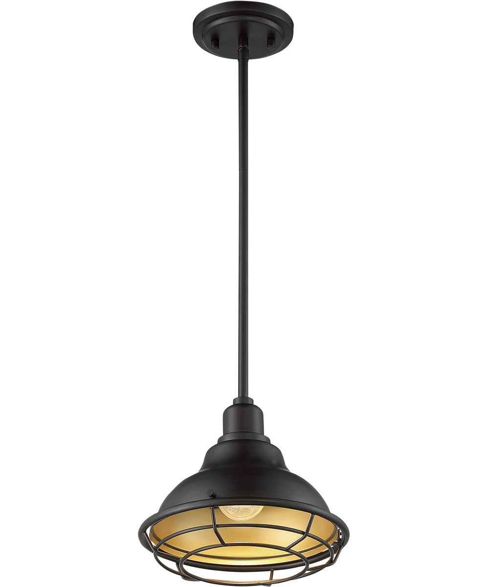 "10""W Newbridge 1-Light Pendant Dark Bronze / Gold"