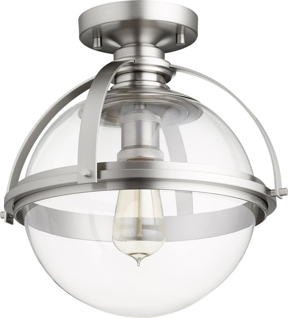 "13""W 1-light Ceiling Flush Mount Satin Nickel"