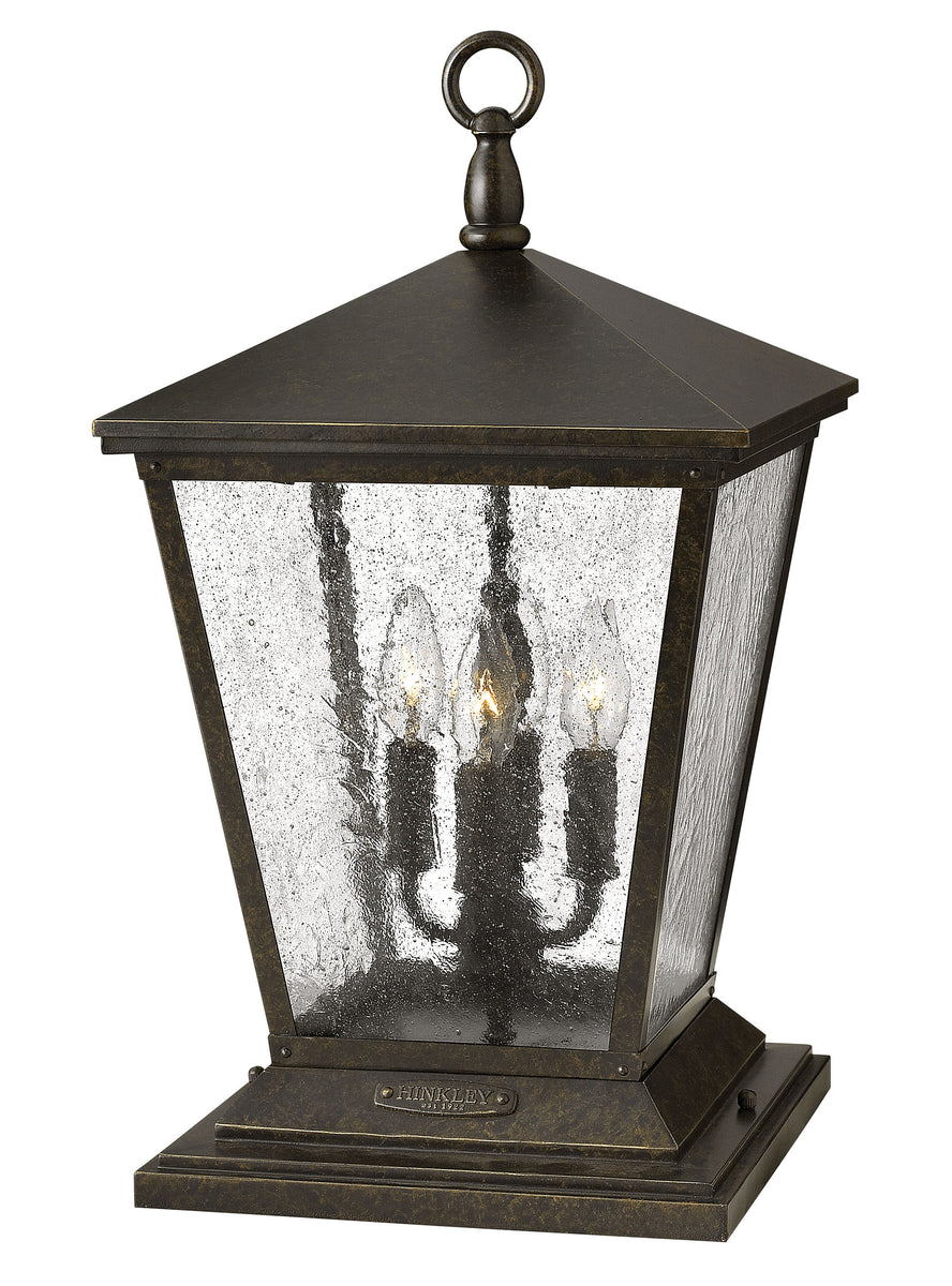 "20""H Trellis 4-Light Outdoor Pier Post Light in Regency Bronze"
