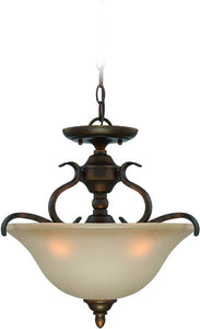 0-000407>McKinney 3-Light Semi Flush/Pendant Light Burleson Bronze