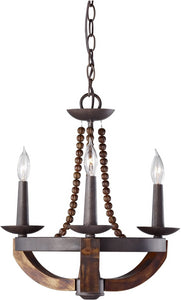 "18""w Adan 3-Light Chandeliler Rustic Iron/Burnished Wood"
