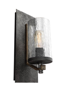 Feiss Angelo 1-Light Wall Sconce Distressed Weathered Oak/Slate Grey Metal