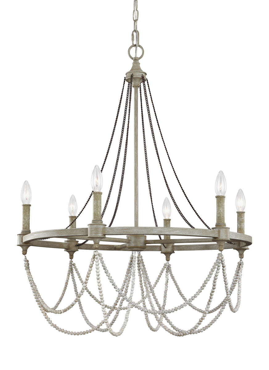 "28""W Beverly 6-Light Chandelier French Washed Oak/Distressed White Wood"