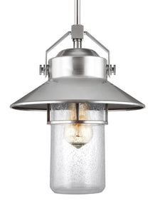 Feiss Boynton 1-Light Outdoor Pendant Lantern Painted Brushed Steel