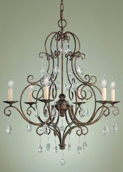 "25""w Chateau Metro Bronze 6-Light Chandelier"
