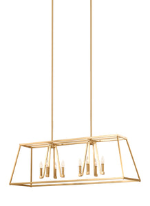 Feiss Conant 8-Light Island Chandelier Gilded Satin Brass