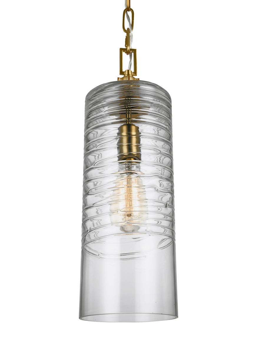 "6""W Elmore 1-Light Pendant Burnished Brass"