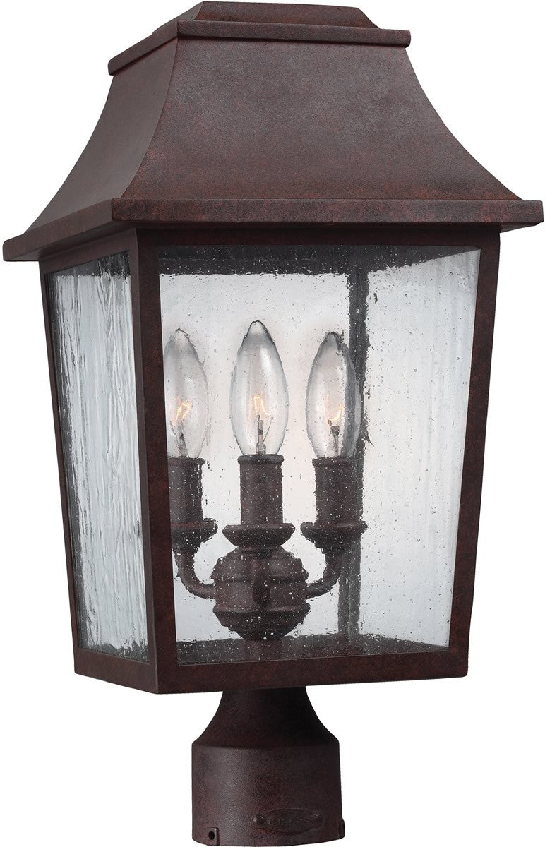 "18""H Estes 3-Light Outdoor Post Light Patina Copper"