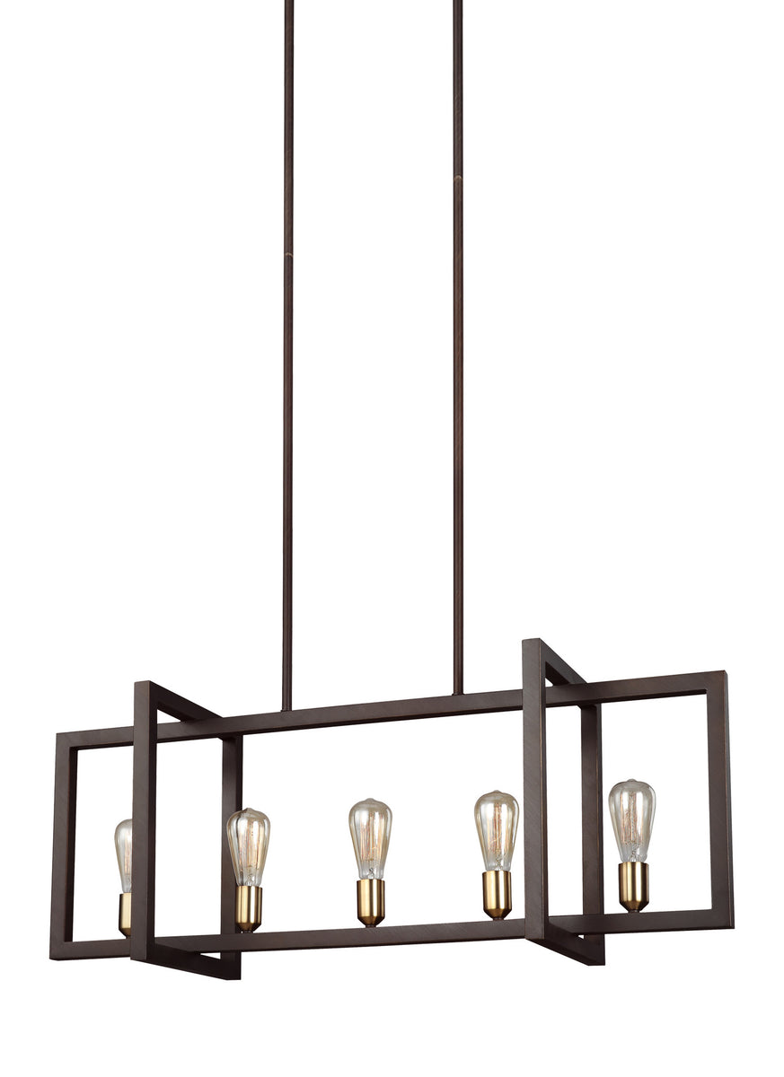 "40""W Finnegan 5-Light Island Chandelier New World Bronze"