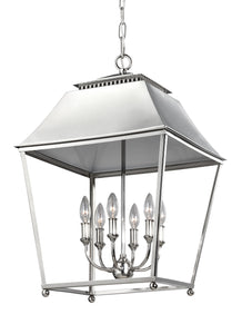 Feiss Galloway 6-Light Foyer Pendant Polished Nickel