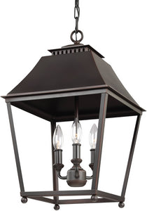 Feiss Galloway 3-Light Pendant Dark Antique Copper / Antique Copper F30893DACAC
