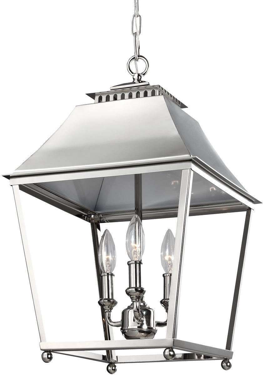 "13""W Galloway 3-Light Pendant Polished Nickel"