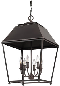 Feiss Galloway 6-Light Pendant Dark Antique Copper / Antique Copper F30906DACAC