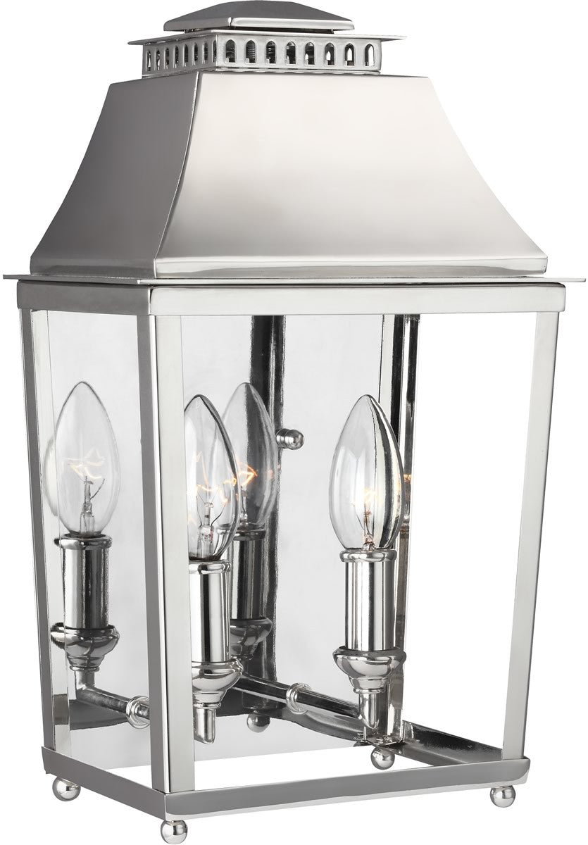 "14""H Galloway 2-Light Outdoor Wall Light Polished Nickel"