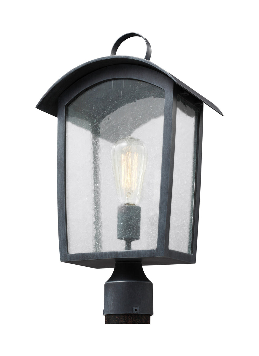 "20""H Hodges 1-Light Outdoor Post Lantern Ash Black"